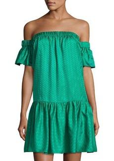 Milly Off-the-Shoulder Silk Shift Dress