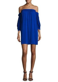 Milly Off-the-Shoulder Stretch-Silk Shift Dress