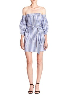 Milly Off-The-Shoulder Striped Dress