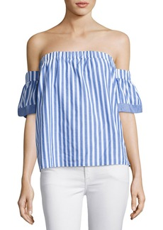 Milly Off-the-Shoulder Striped Poplin Blouse