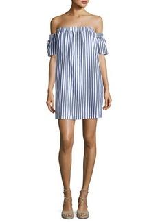Milly Off-the-Shoulder Striped Poplin Shirtdress