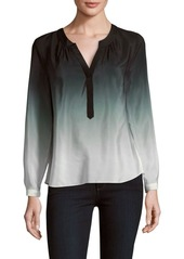 MILLY Ombre Placket Blouse