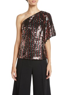 Milly One-Shoulder Butterfly-Sleeve Striped Sequin Top