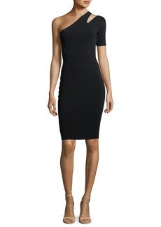 Milly One-Shoulder Sliced Cocktail Dress