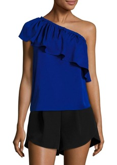 Milly One-Shoulder Stretch-Silk Top