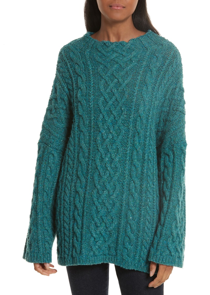 Milly Milly Oversize Fisherman Cable-Knit Sweater | Sweaters ...