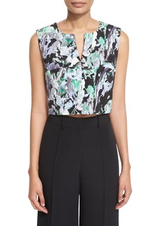 Milly Painterly Floral-Print Cropped V-Neck Shell
