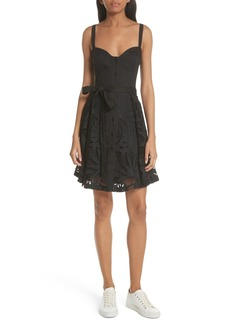Milly Palm Embroidered Bustier Dress