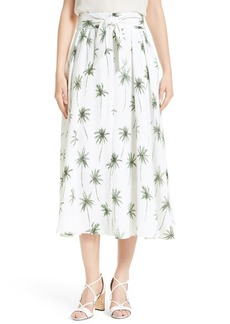 Milly Palm Tree Print Cady Midi Skirt