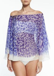 Milly Panama Brushstroke-Print Silk Chiffon Coverup
