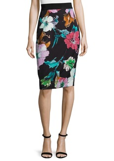 Milly Paper Floral-Print Midi Skirt
