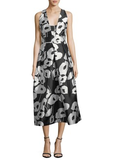 Milly Paris Poppy Floral-Print Twill Evening Dress