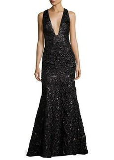 Milly Penelope Rosette Jacquard Mermaid Gown