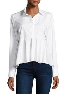 Milly Peplum Solid Poplin Shirt