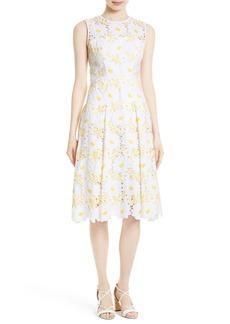 Milly Petal Eyelet Fit & Flare Dress