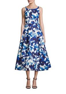 MILLY Petal-Print Midi Dress