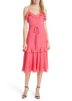 Milly Petal Stretch Silk Midi Dress