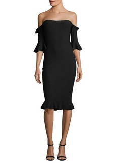 Milly Pintuck Off-the-Shoulder Sheath Dress