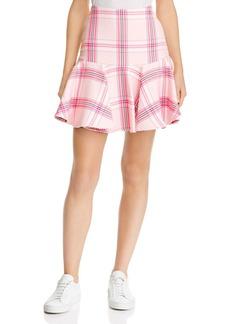 MILLY Plaid Flounced Skirt