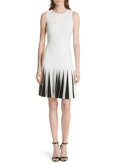 Milly Pleated Contrast Drop Waist Dress