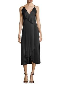 Milly Pleated Ruffle Wrap Dress