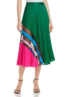 MILLY Pleated Silk Skirt