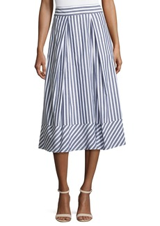 Milly Pleated Striped Poplin Midi Skirt