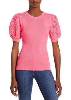 MILLY Pointelle Puff Sleeve Top