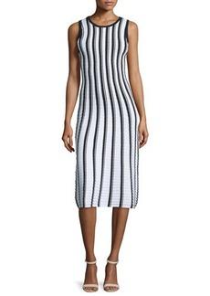 Milly Pop Texture-Striped Midi Dress