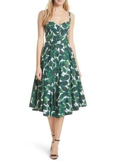 Milly Print Poplin Midi Dress