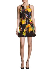 MILLY Printed Fit-&-Flare Dress