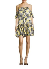 MILLY Printed Off-The-Shoulder Dress