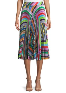 Milly Rainbow Stripe Pleated Skirt