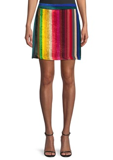 Milly Rainbow Stripe Velvet Modern Mini Skirt