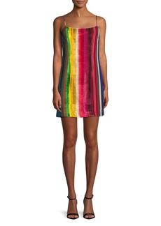 Milly Rainbow Velvet Mini Slip Dress