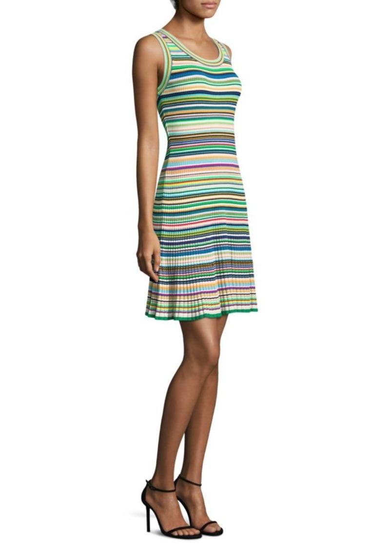 32f990d654 SALE! Milly Rib-Knit Multi-Stripe Sweater Dress