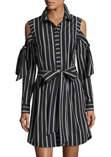 Milly Riley Cold-Shoulder Striped Cotton Shirtdress