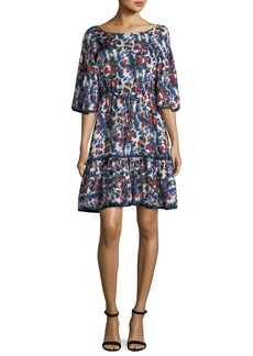 Milly Rose Hibiscus-Print Silk Dress