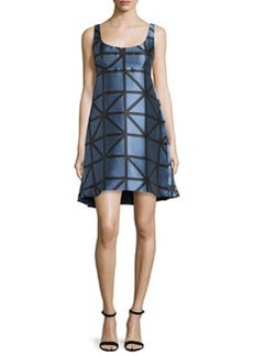 Milly Roxanne Sleeveless Graphic Gridded Jacquard Dress