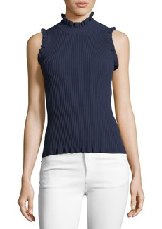 Milly Ruffle-Edge Rib Shell Top