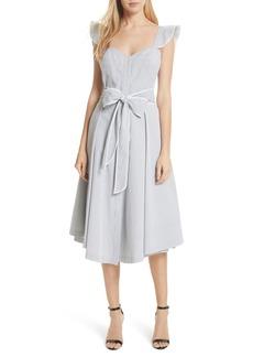 Milly Ruffle Seersucker A-Line Dress