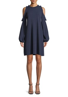 Milly Ruffled Dress with Cold Shoulders