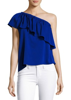 Milly Ruffled One-Shoulder Stretch-Silk Top