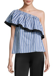 Milly Ruffled One-Shoulder Striped Top