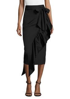 MILLY Ruffled Tie-Front Midi Skirt