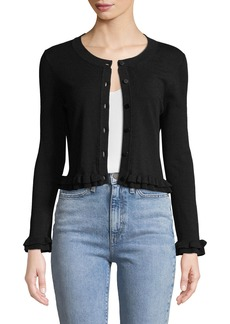 Milly Ruffled-Trim Button-Front Cardigan