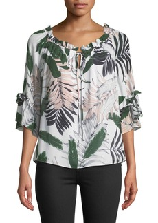Milly Ruffled Tropical-Print Silk Top