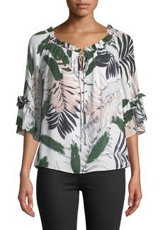Milly Ruffled Tropical-Print Silk Top