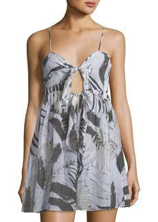 Milly Sadie Tie-Front Printed Silk Coverup Dress