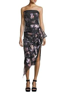Milly Sasha Strapless Floral-Metallic Organza Asymmetric Cocktail Dress